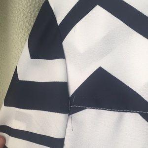 Navy blue and white chevron print tunic